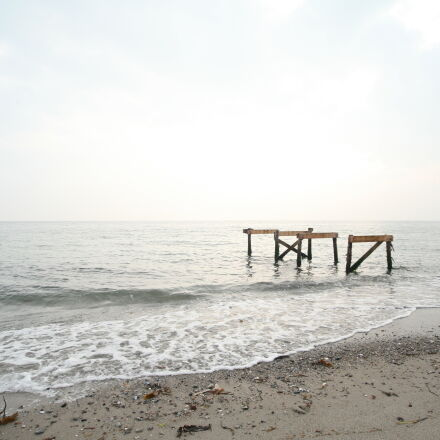 wood, beach, water, ocean, Canon EOS 5D