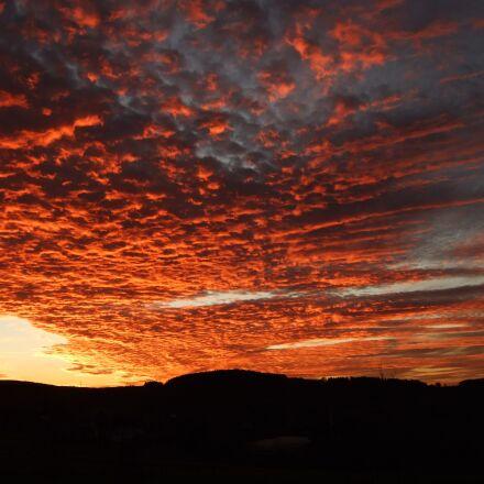 sunset, afterglow, evening sky, Fujifilm FinePix F30