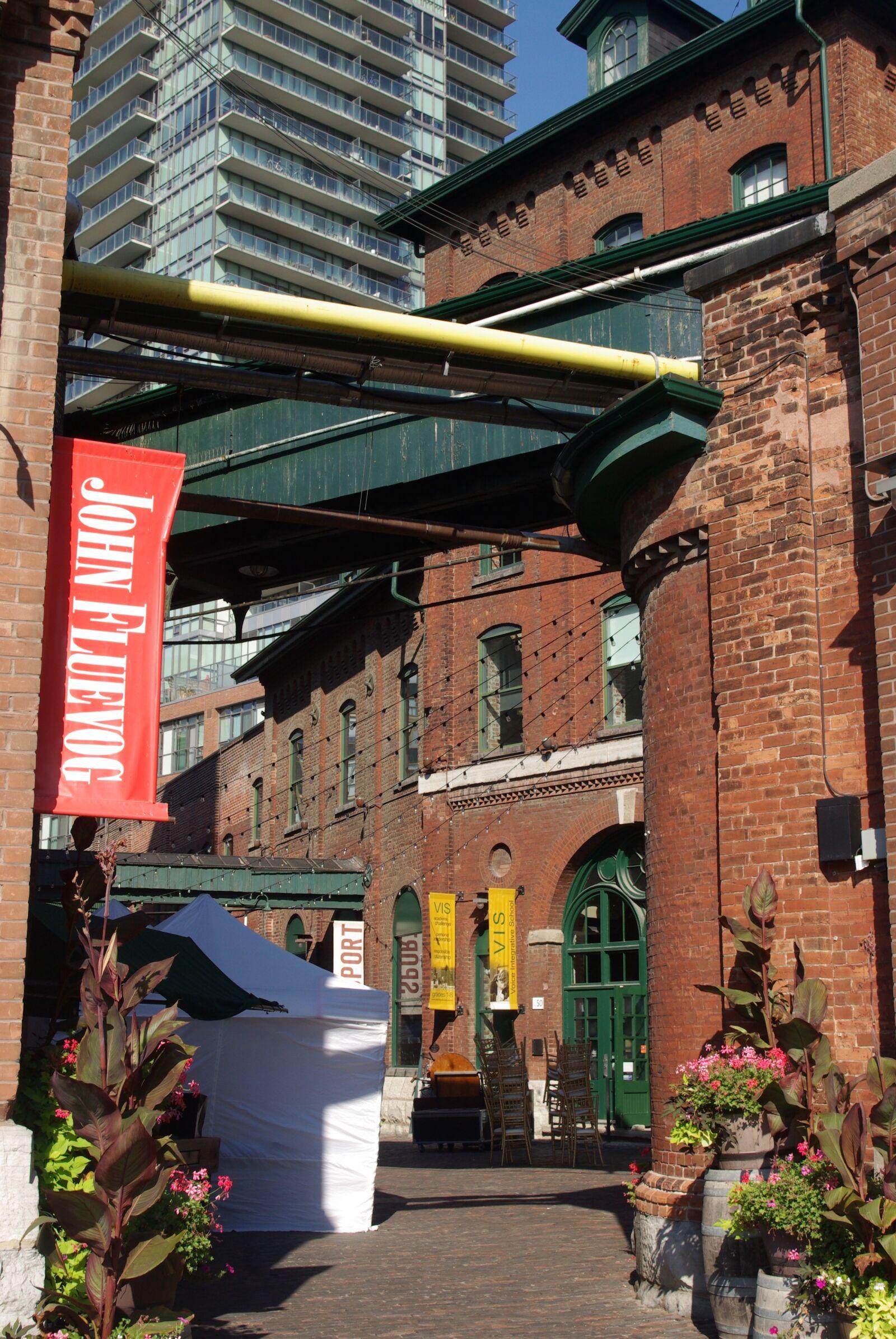 "Pentax K10D sample photo. ""Toronto, distillery district, bricks"" photography"