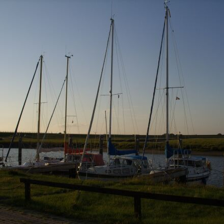 port, sea, sunset, Samsung Digimax L85
