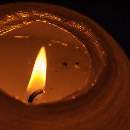 candle, flame, night, Nikon D40X