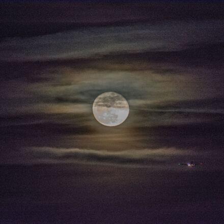 moon, night, plane, Nikon D7100