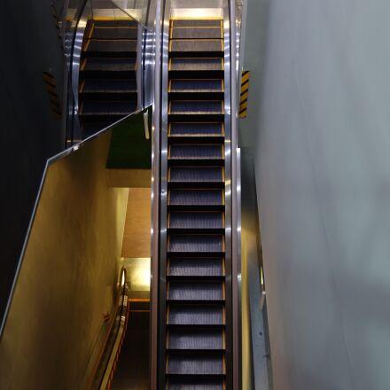 escalator, building, internal, Sony DSC-QX100