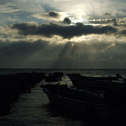 sea, sunset, ship, Fujifilm FinePix S5200