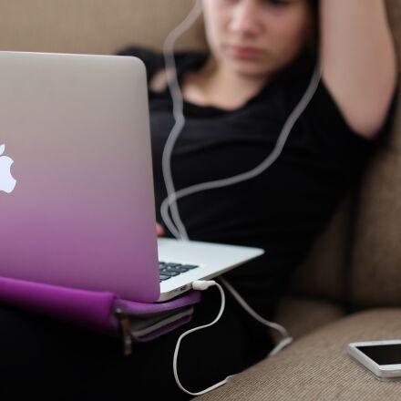 apple, computer, girl, Fujifilm X-T1