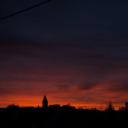 silhouette, village, Nikon D7100