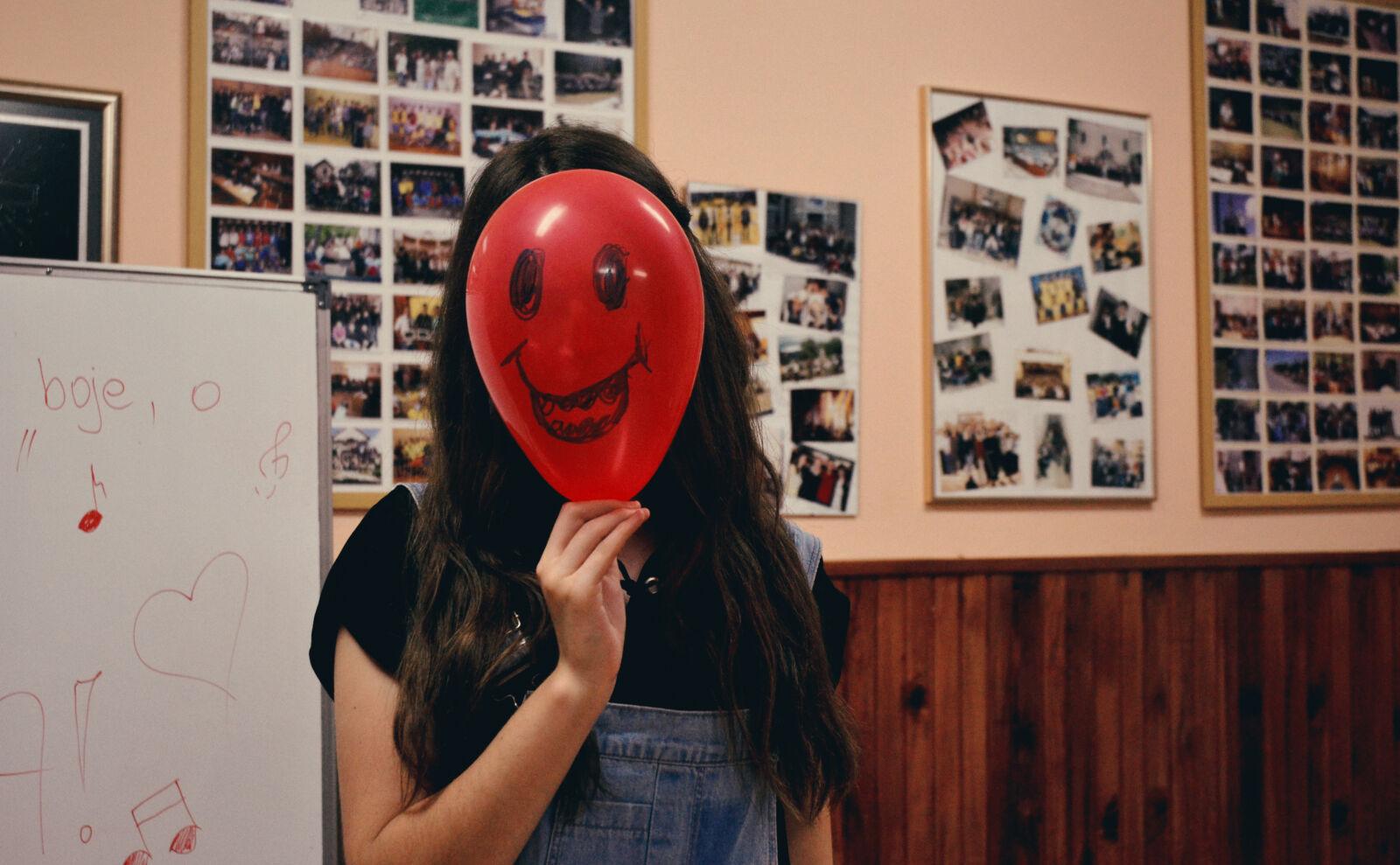 "Nikon D3100 sample photo. ""Woman, holding, red, balloon"" photography"
