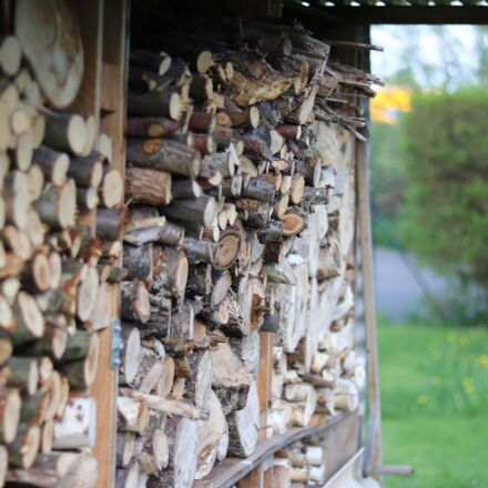 wood, stack, firewood, Canon EOS 77D
