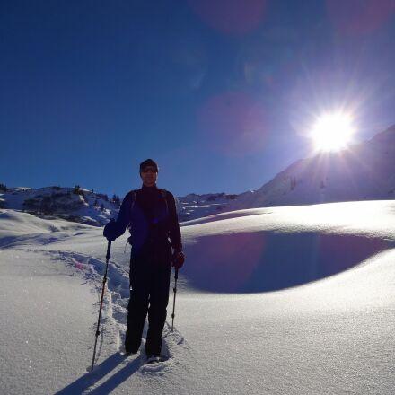 snowshoeing, sun, winter, Sony DSC-WX100