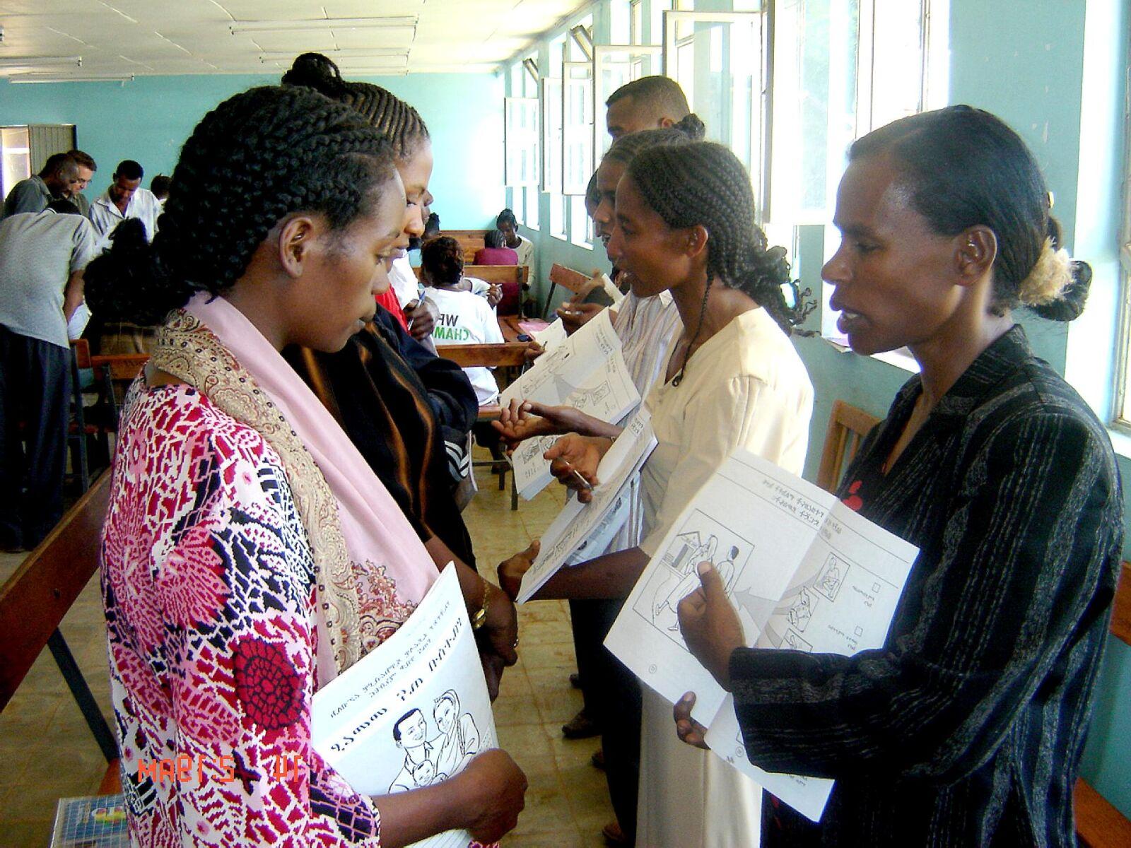 volunteer, workers, Ethiopia, explains