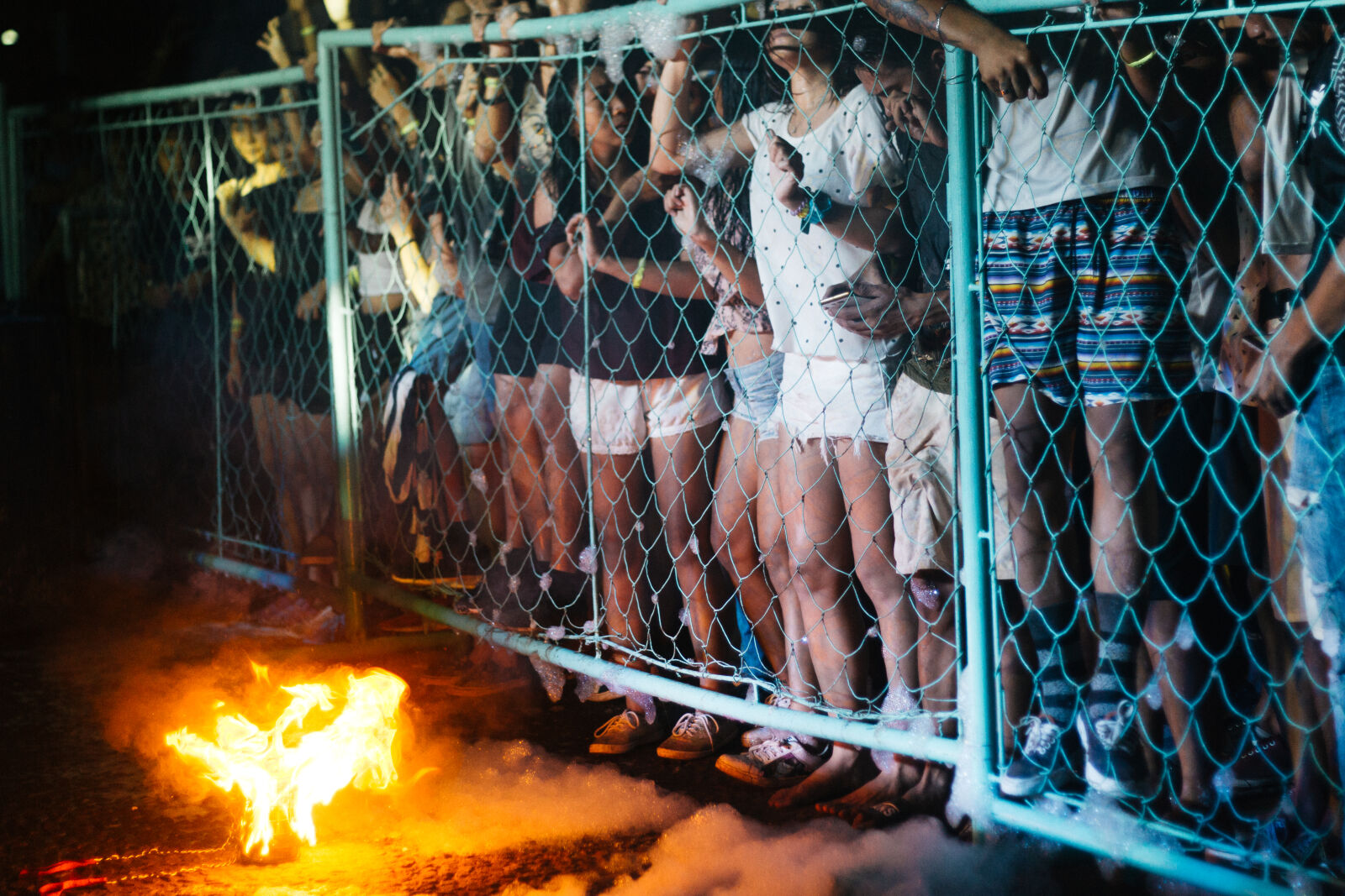 people, outside, the, fence