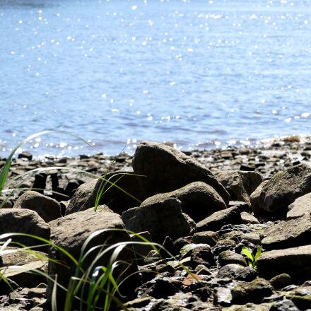bank, stones, water, Panasonic DMC-FZ300