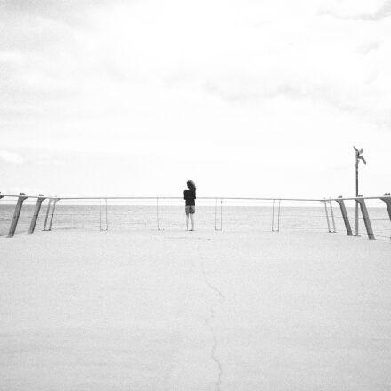 black and white, beach, Canon EOS 5D MARK II