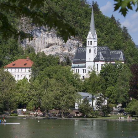 bled, slovenia, church, Pentax K-30