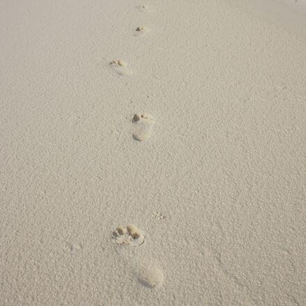 footprints, sand, foot, Sony NEX-5