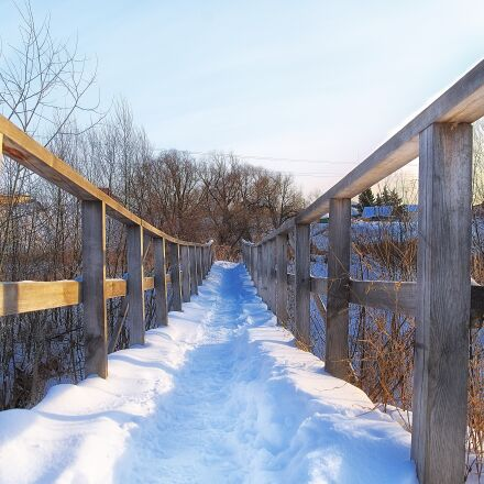 winter, bridge, wood, Pentax K-500