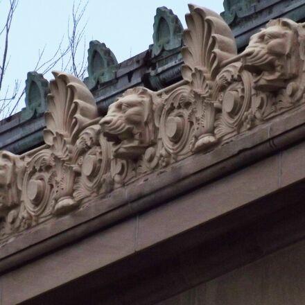 lion heads, gargoyles, water, Fujifilm FinePix S3200