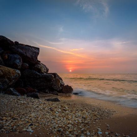 seashore, during, sunset, photography, Nikon D750