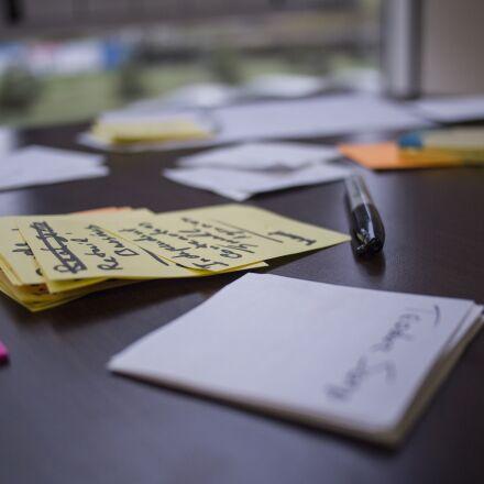 lean startup, post-it, workshop, Olympus E-PL1