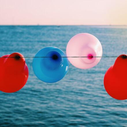 sea, sunset, evening, balloons, Samsung NX3000