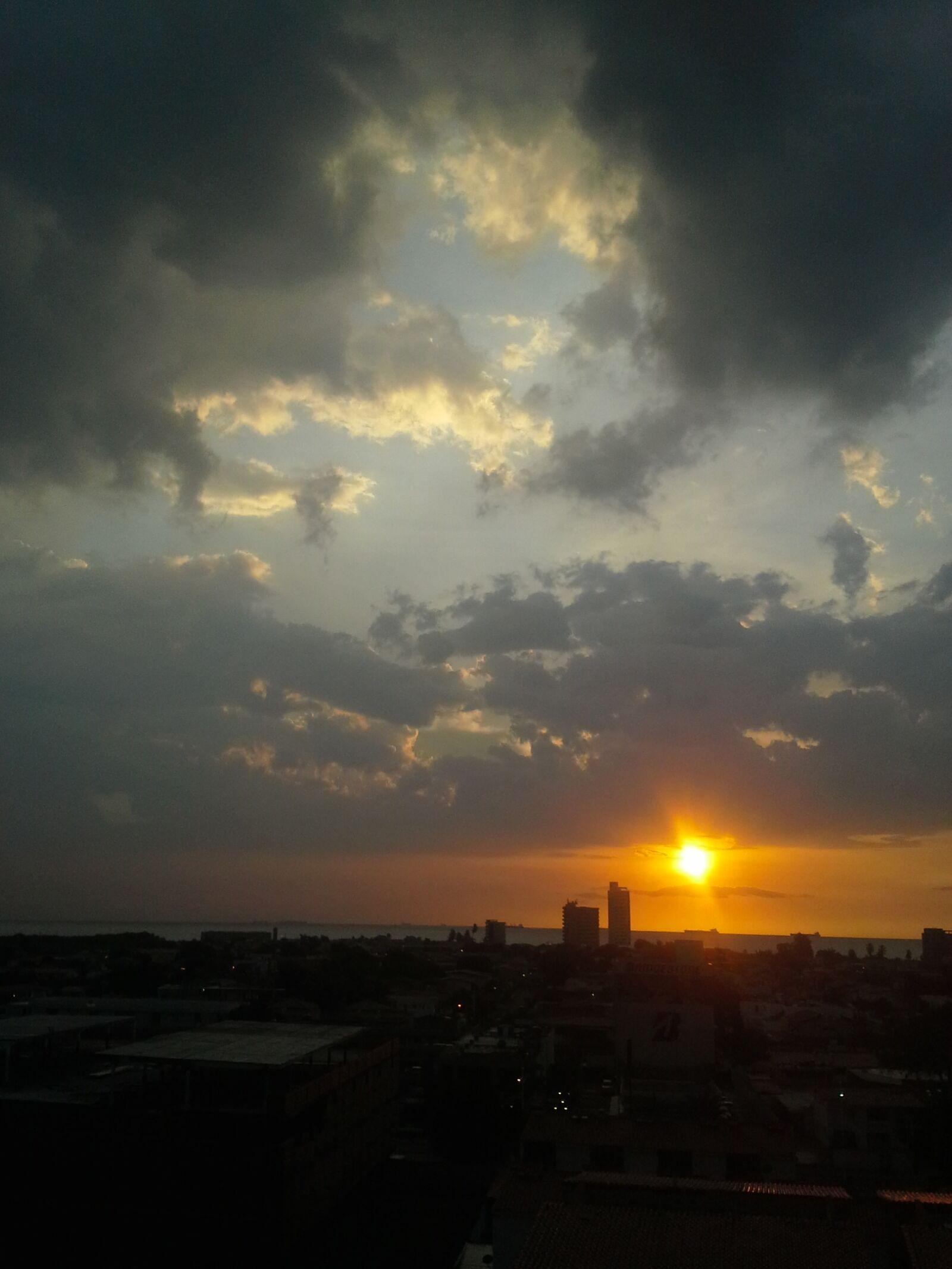 sunset, dark clouds, sun