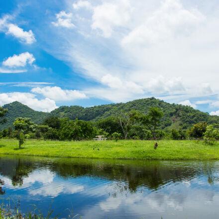 blue, sky, lake, mountain, Canon EOS KISS X7I