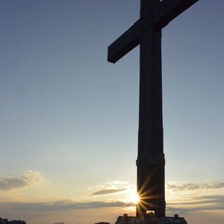 sunset, summit cross, alpine, Nikon 1 AW1