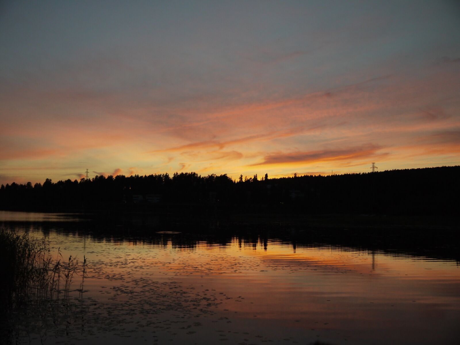 sunset, landscape, trees
