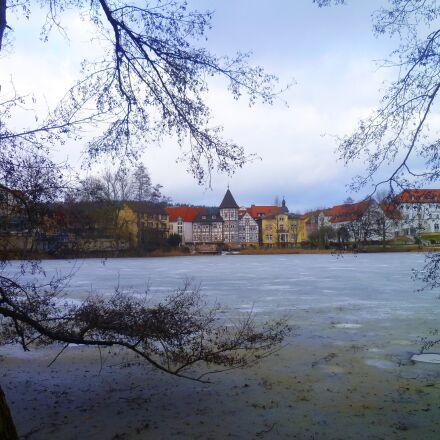 winter, lake, village, Panasonic DMC-FS10