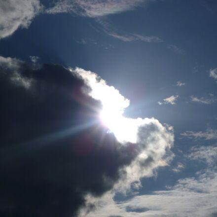 clouds, sun, breakthrough, Panasonic DMC-FS10