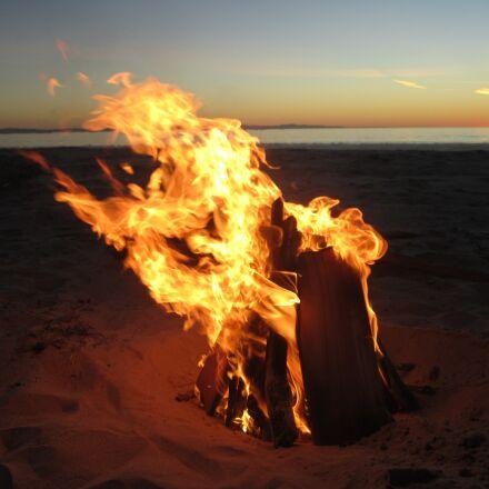 fire, beach, sunset, Canon POWERSHOT SD1400 IS