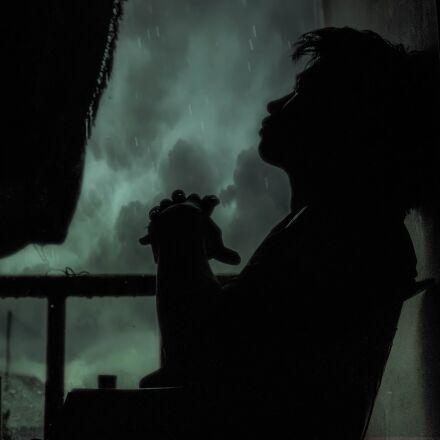 rain, am lonely, kids, Canon EOS 7D