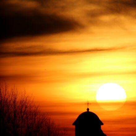 church, sunrise, cloud, Canon EOS 700D