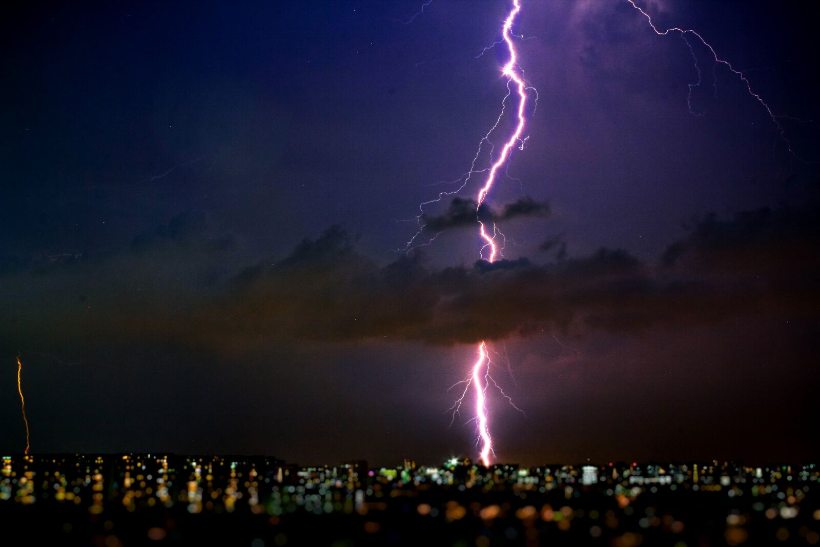 photography, of, lightning, during