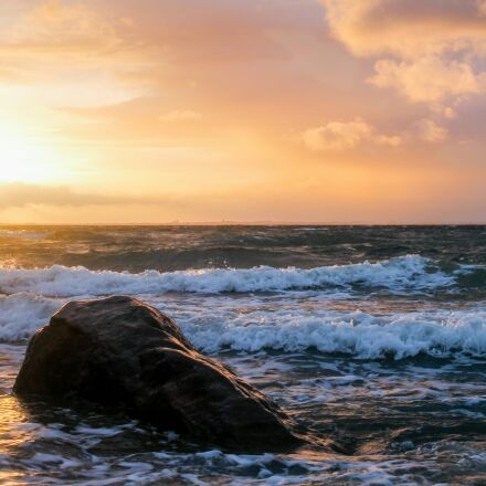 sunset, waters, sea, Canon EOS 1100D
