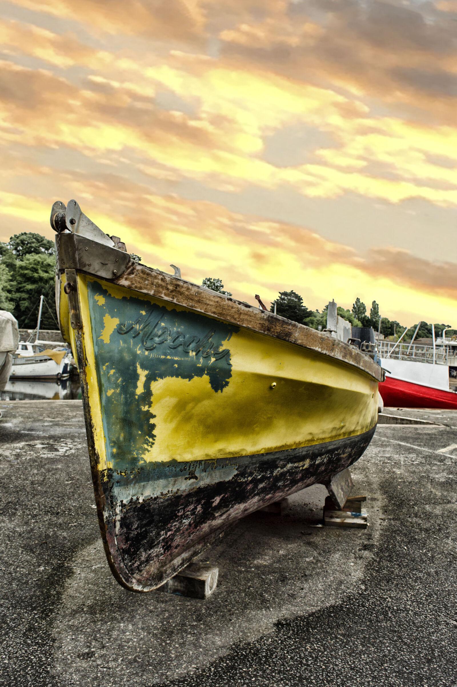 "Nikon D3200 sample photo. ""Yellow, and, black, boat"" photography"