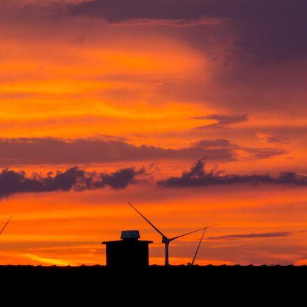 wind power, pinwheel, afterglow, Nikon 1 V2