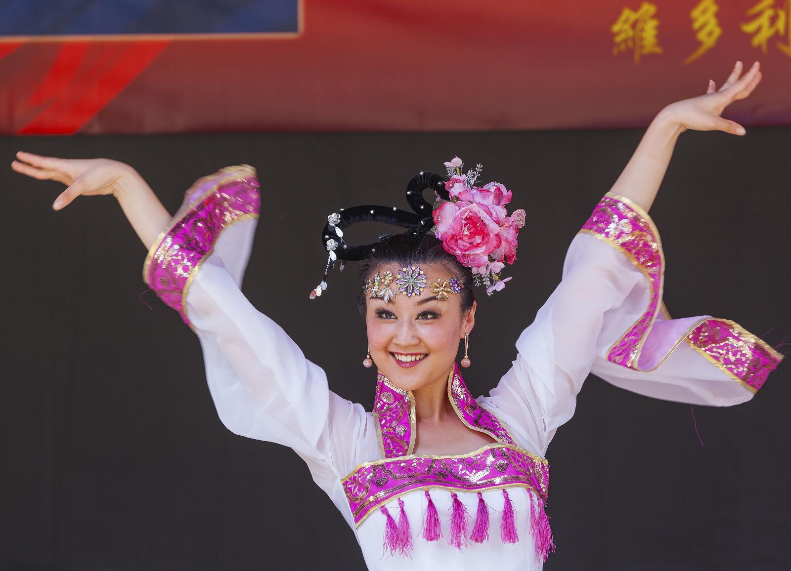 chinese, costume, dancer, flowers