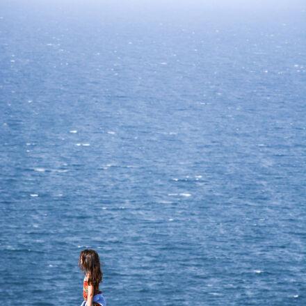 field, girl, lonely, sea, Nikon D7100
