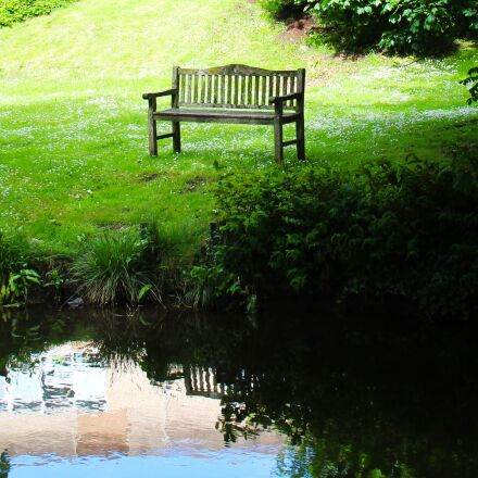 seat, pond, alone, Canon EOS 700D