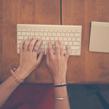 hands, woman, apple, desk, Nikon D800