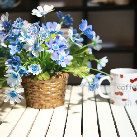 cup, flowers, table, Canon EOS 70D