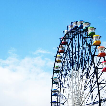 ferris wheel, colorful, blue, Canon IXY 200F