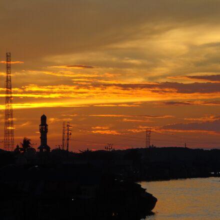 river, evening, water, Sony DSC-W690