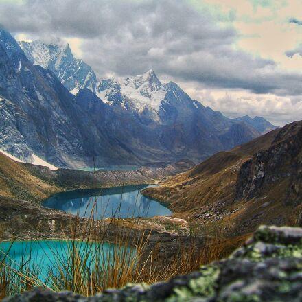 view, mountain, lake, Fujifilm FinePix E550