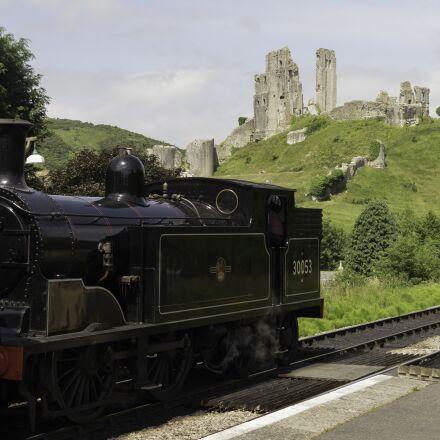 steam locomotive, england, burgruine, Panasonic DMC-G3