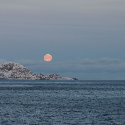 moon, mountain, sea, Sony SLT-A55V