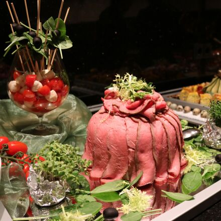 buffet, fish, meat, Canon EOS 750D