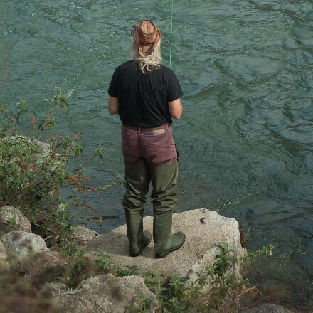 fisherman, river, fishing, Pentax K10D