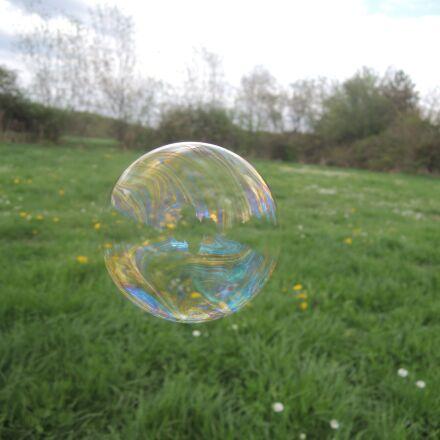 bubble, soap bubble, grass, Nikon COOLPIX P310